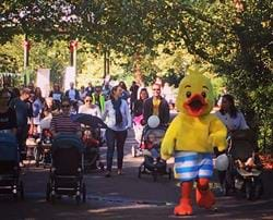Puddle the Duck leads 'Pushers' around Battersea Park for The Big Push!