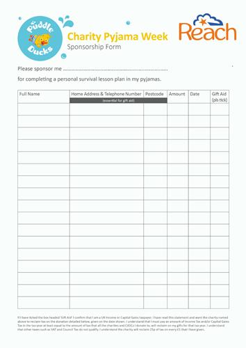 sponsorship form for pyjama week puddle ducks. Black Bedroom Furniture Sets. Home Design Ideas