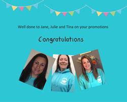 Congratulations to Jane, Julie and Tina !