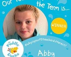 Abby wins our Teacher of the Term competition!