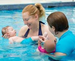 Swimming lessons for newborn babies