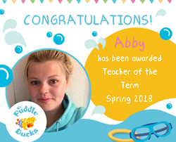 Congratulations to Abby our Teacher of the Term Spring 2018
