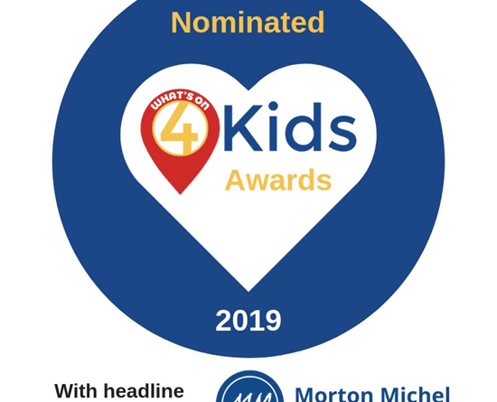We've been nominated for a What's On 4 Kids Award 2019!