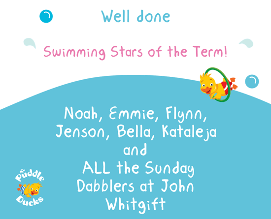Swimming Stars of the Term! Autumn 2019